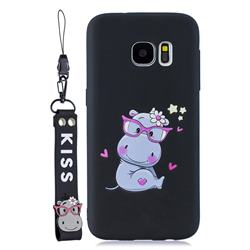 Black Flower Hippo Soft Kiss Candy Hand Strap Silicone Case for Samsung Galaxy S7 G930