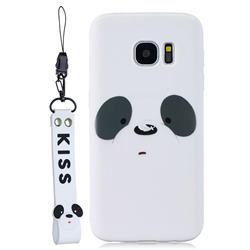 White Feather Panda Soft Kiss Candy Hand Strap Silicone Case for Samsung Galaxy S7 G930