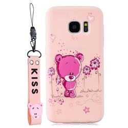 Pink Flower Bear Soft Kiss Candy Hand Strap Silicone Case for Samsung Galaxy S7 G930