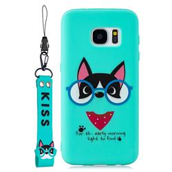 Green Glasses Dog Soft Kiss Candy Hand Strap Silicone Case for Samsung Galaxy S7 G930