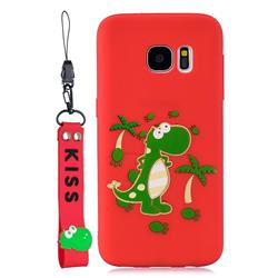 Red Dinosaur Soft Kiss Candy Hand Strap Silicone Case for Samsung Galaxy S7 G930