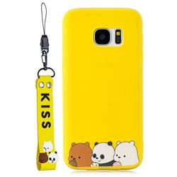 Yellow Bear Family Soft Kiss Candy Hand Strap Silicone Case for Samsung Galaxy S7 G930