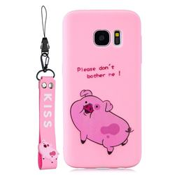 Pink Cute Pig Soft Kiss Candy Hand Strap Silicone Case for Samsung Galaxy S7 G930