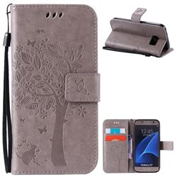 Embossing Butterfly Tree Leather Wallet Case for Samsung Galaxy S7 - Grey