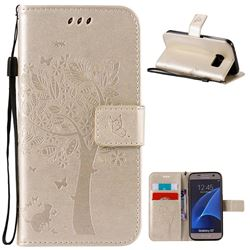 Embossing Butterfly Tree Leather Wallet Case for Samsung Galaxy S7 - Champagne