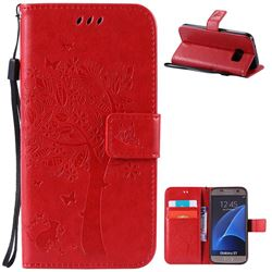 Embossing Butterfly Tree Leather Wallet Case for Samsung Galaxy S7 - Red