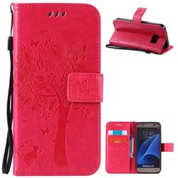Embossing Butterfly Tree Leather Wallet Case for Samsung Galaxy S7 - Rose