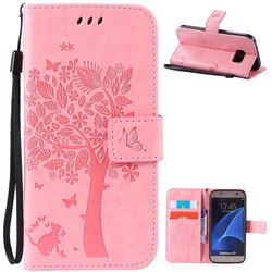 Embossing Butterfly Tree Leather Wallet Case for Samsung Galaxy S7 - Pink