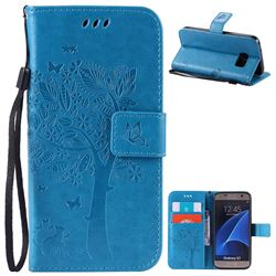 Embossing Butterfly Tree Leather Wallet Case for Samsung Galaxy S7 - Blue