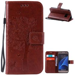 Embossing Butterfly Tree Leather Wallet Case for Samsung Galaxy S7 - Brown