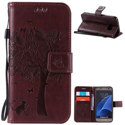 Embossing Butterfly Tree Leather Wallet Case for Samsung Galaxy S7 - Coffee