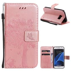 Embossing Butterfly Tree Leather Wallet Case for Samsung Galaxy S7 G930 - Rose Pink