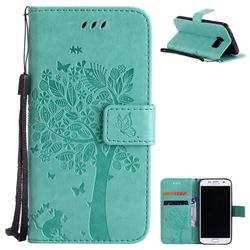 Embossing Butterfly Tree Leather Wallet Case for Samsung Galaxy S7 G930 - Cyan