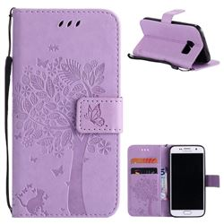 Embossing Butterfly Tree Leather Wallet Case for Samsung Galaxy S7 G930 - Violet