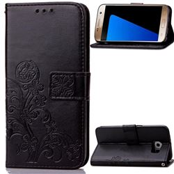 Embossing Imprint Four-Leaf Clover Leather Wallet Case for Samsung Galaxy S7 - Black