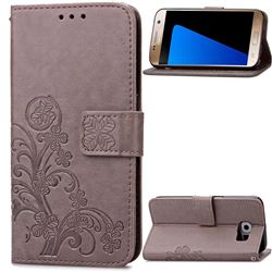 Embossing Imprint Four-Leaf Clover Leather Wallet Case for Samsung Galaxy S7 - Gray
