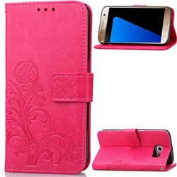 Embossing Imprint Four-Leaf Clover Leather Wallet Case for Samsung Galaxy S7 - Rose