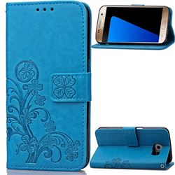 Embossing Imprint Four-Leaf Clover Leather Wallet Case for Samsung Galaxy S7 - Blue
