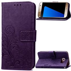 Embossing Imprint Four-Leaf Clover Leather Wallet Case for Samsung Galaxy S7 - Purple
