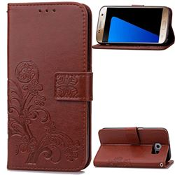 Embossing Imprint Four-Leaf Clover Leather Wallet Case for Samsung Galaxy S7 - Brown