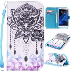 Owl Wind Chimes Leather Wallet Phone Case for Samsung Galaxy S7