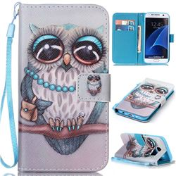 Sweet Gray Owl Leather Wallet Phone Case for Samsung Galaxy S7