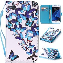 Blue Vivid Butterflies Leather Wallet Phone Case for Samsung Galaxy S7