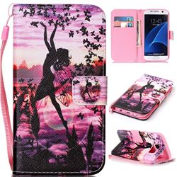 Butterfly Girl Leather Wallet Phone Case for Samsung Galaxy S7
