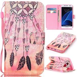 Heart Wind Chimes Leather Wallet Phone Case for Samsung Galaxy S7