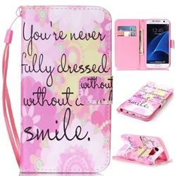 Pink Smile Leather Wallet Phone Case for Samsung Galaxy S7
