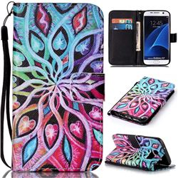 Spreading Flowers Leather Wallet Phone Case for Samsung Galaxy S7