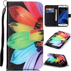 Colorful Sunflower Leather Wallet Phone Case for Samsung Galaxy S7