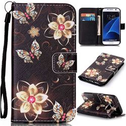 Golden Flower Butterfly Leather Wallet Phone Case for Samsung Galaxy S7
