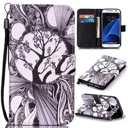 Black and White Trees Leather Wallet Phone Case for Samsung Galaxy S7