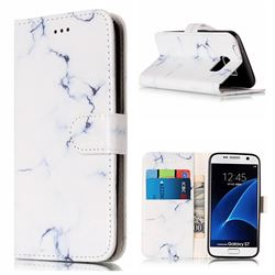 Soft White Marble PU Leather Wallet Case for Samsung Galaxy S7 G930