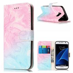 Pink Green Marble PU Leather Wallet Case for Samsung Galaxy S7 G930