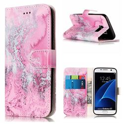 Pink Seawater PU Leather Wallet Case for Samsung Galaxy S7 G930