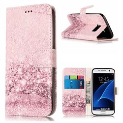 Glittering Rose Gold PU Leather Wallet Case for Samsung Galaxy S7 G930