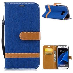Jeans Cowboy Denim Leather Wallet Case for Samsung Galaxy S7 G930 - Sapphire