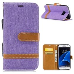 Jeans Cowboy Denim Leather Wallet Case for Samsung Galaxy S7 G930 - Purple