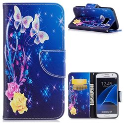 Yellow Flower Butterfly Leather Wallet Case for Samsung Galaxy S7 G930
