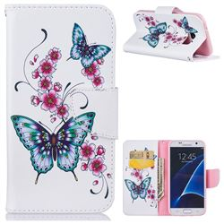 Peach Butterflies Leather Wallet Case for Samsung Galaxy S7 G930