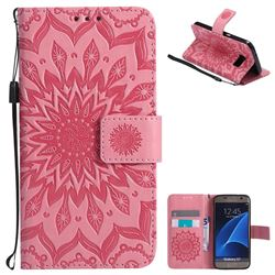 Embossing Sunflower Leather Wallet Case for Samsung Galaxy S7 G930 - Pink