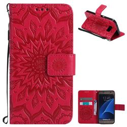 Embossing Sunflower Leather Wallet Case for Samsung Galaxy S7 G930 - Red