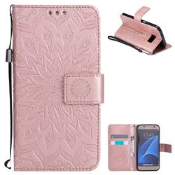 Embossing Sunflower Leather Wallet Case for Samsung Galaxy S7 G930 - Rose Gold