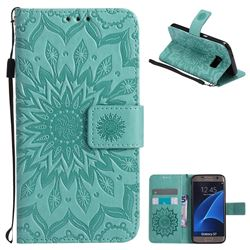 Embossing Sunflower Leather Wallet Case for Samsung Galaxy S7 G930 - Green