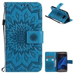 Embossing Sunflower Leather Wallet Case for Samsung Galaxy S7 G930 - Blue