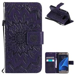 Embossing Sunflower Leather Wallet Case for Samsung Galaxy S7 G930 - Purple