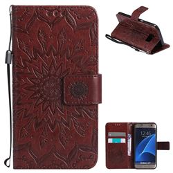 Embossing Sunflower Leather Wallet Case for Samsung Galaxy S7 G930 - Brown