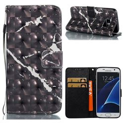 Black Marble 3D Painted Leather Wallet Case for Samsung Galaxy S7 G930